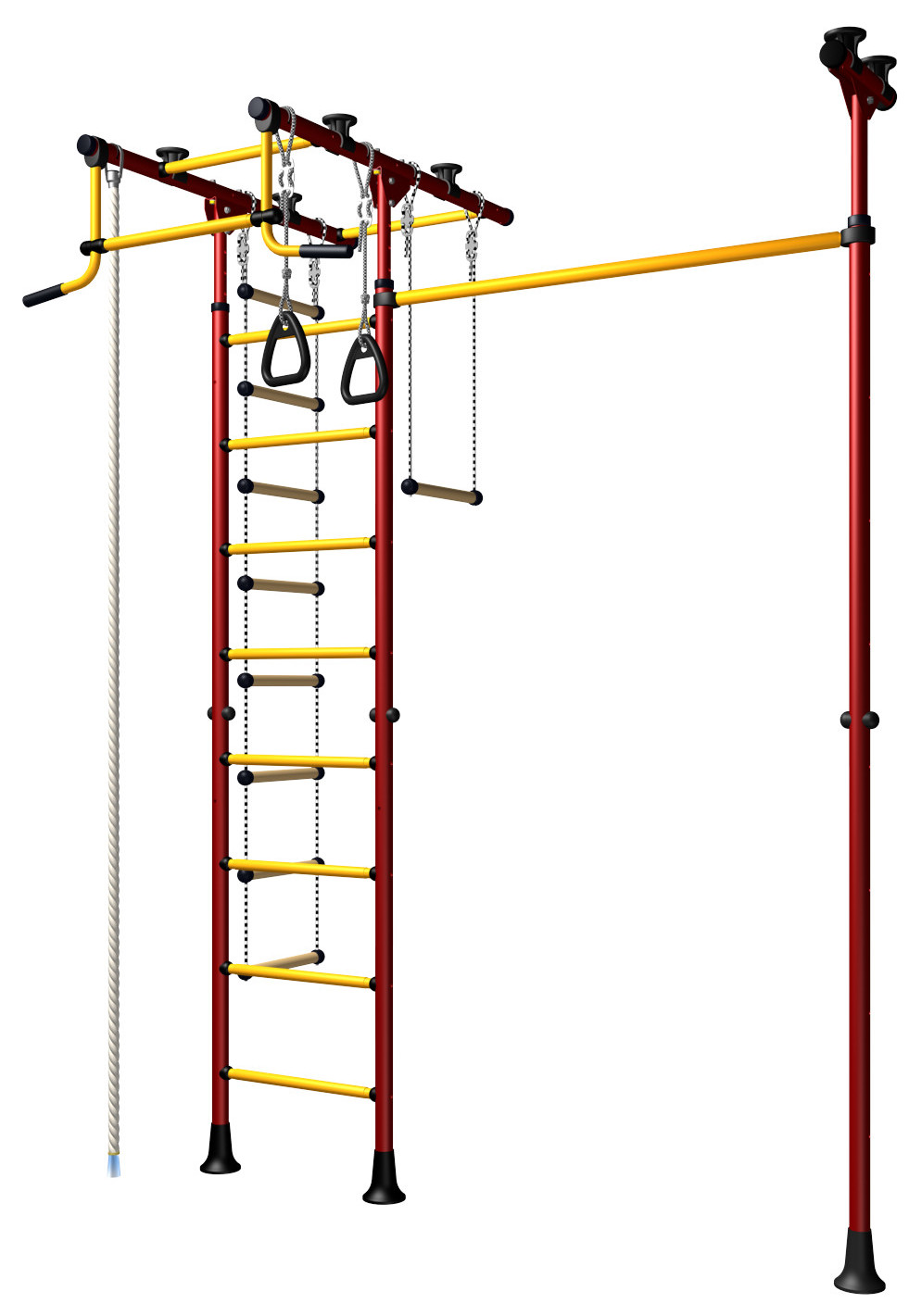 Indoor Sport Gym for Kids, model Comet-3.06 - metal rungs covered with plastic with massage bumps - Additional Pull Up Bar