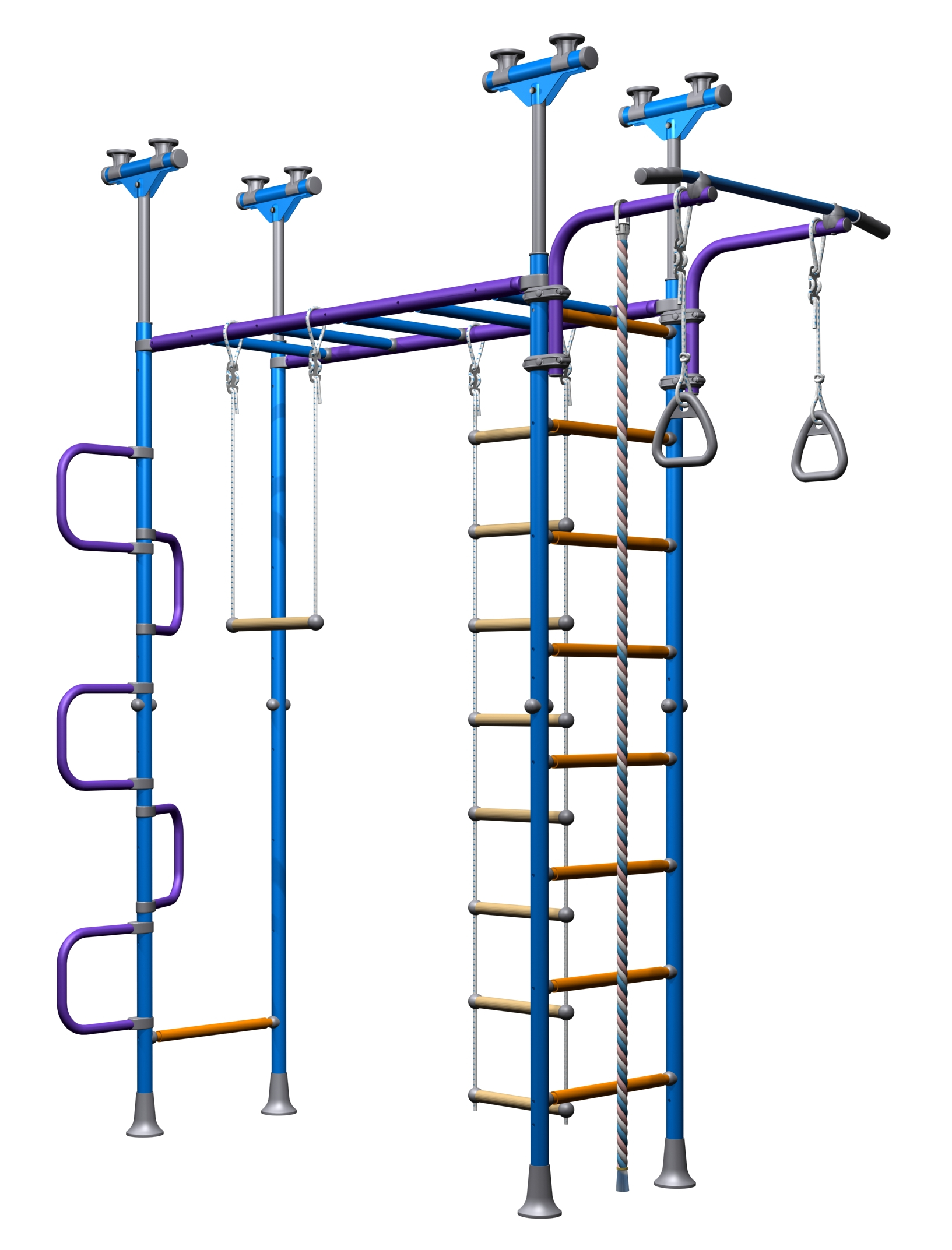 Indoor Sport Gym for Kids, model JungleDome - Jungle Gym with metal rungs.