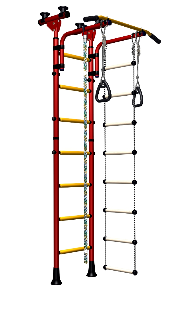 Indoor Sport Gym for Kids, model Olympian-2.04 with wood rungs - Jungle Gym with wood rungs