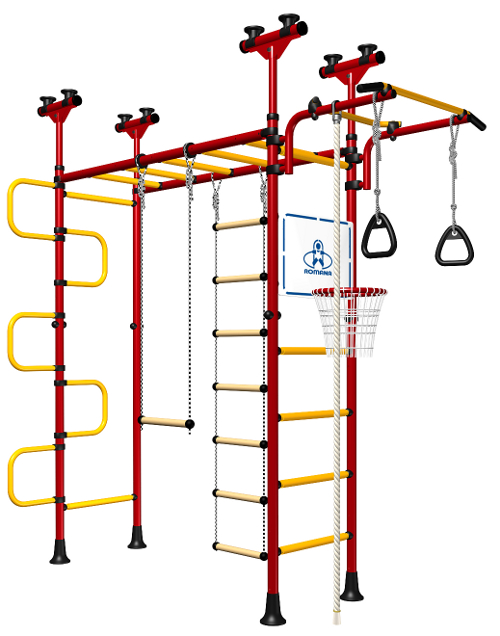 Indoor Sport Gym for Kids, model Pegasus-4.06.php - Jungle Gym with metal rungs covered with plastic with massage bumps