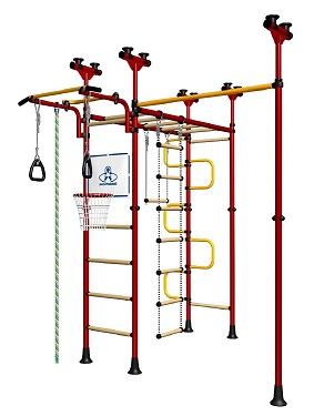 Indoor Sport Gym for Kids, model Saturn-5.04.php - Jungle Gym with wood rungs. Additional pull-up bar