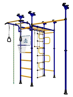 Indoor Sport Gym for Kids, model Saturn-5.06.php - Jungle Gym with metal rungs covered with plastic with massage bumps. Additional pull-up bar